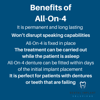 All-On-4 implants are a great solution for patients who have dentures or patients who suffer from failing teeth. Take a look below and see how the treatment can help you with the benefits of All-On-4:
